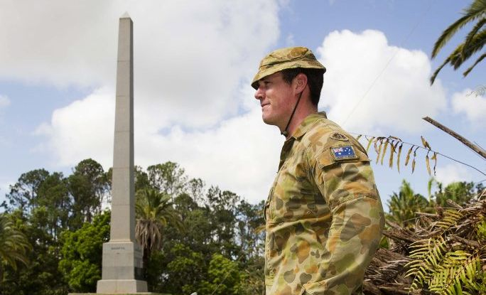 Australian Army Lieutenant Elliot Hislop, of the 3rd Combat Engineer Regiment, ensures the War Memorial at the Rockhampton Botanic Gardens is undamaged and clear of debris on 28th February, 2015, in the wake of Tropical Cyclone Marcia. *** Local Caption *** The 197 strong Engineer Support Group (ESG) has commenced cleaning up Rockhampton Botanic Gardens after it was devastated by Cyclone Marcia. On 28th February 2015, troops from the Townsville based 3rd Combat Engineer Regiment assisted State Emergency Services and local council personnel clear paths and remove a significant amount of dead fall. The ESG is the main effort of the Emergency Support Force (ESF), which is Defence's overall contribution to the restoration of the Rockhampton, Yeppoon and Byfield regions.