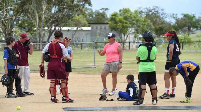 Softball clinic with Tanya Harding at the Hervey Bay softball grounds.