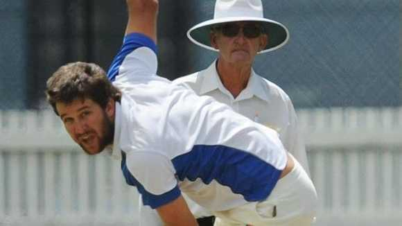 Brad Chard took 5 for 11 off 9.5 overs as Tucabia Copmanhurst crushed South Services for just 21 runs in the first innings of the GDSC Premier League round 4 clash at Ellem Oval on Saturday, 18th November, 2017. Photo: Leigh Jensen / Daily Examiner