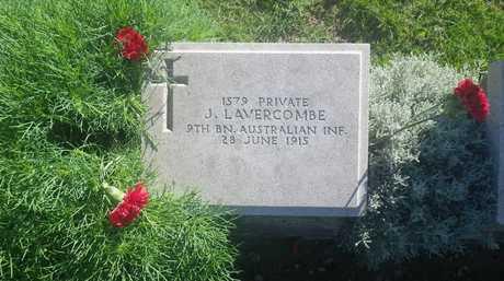 The grave of Private John Lavercombe