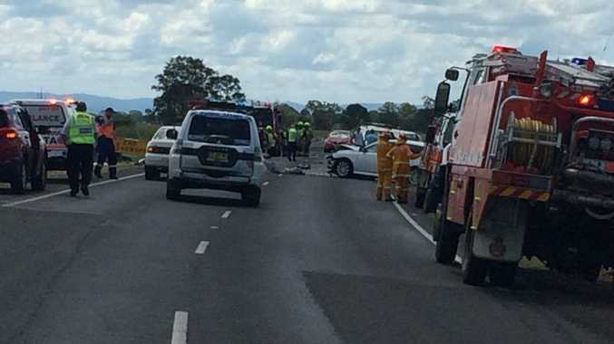 The scene of an horrific crash on the Bruxner Highway. Photo Cath Adams / The Northern Star