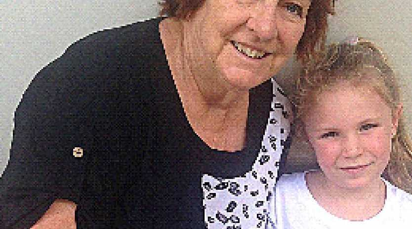 WARNING: Gympie grandmother Margaret Engeman with her grandaughter Lindsay Webb, who received a severe friction burn to her arm from a treadmill this week.