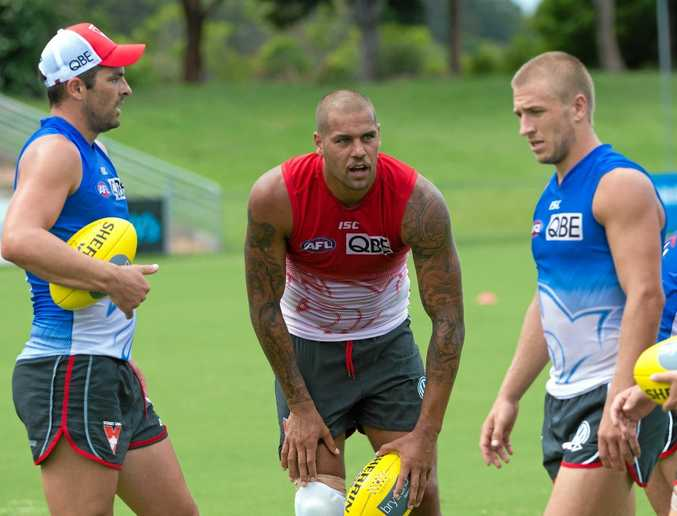 WELCOME BACK: Star Sydney Swans players like (from left) Heath Grundy, Lance Franklin and captain Kieren Jack will return to Coffs Harbour in February for a pre-season training camp.