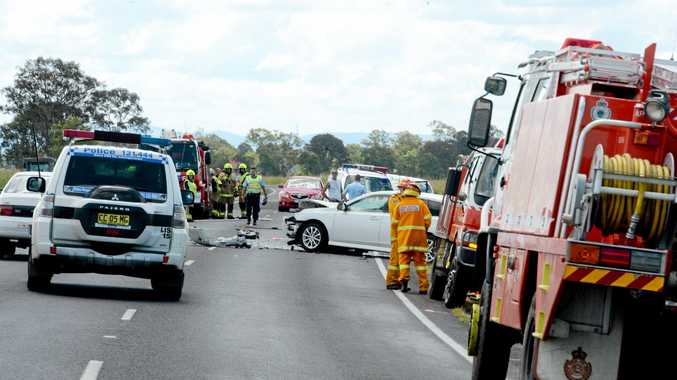 A car crash on the Bruxner Highway, east of Casino, involving multiple cars.