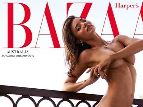 Miranda Kerr on the cover of the January/February 2016 Harper's Bazaar, which has now been pulled from Coles