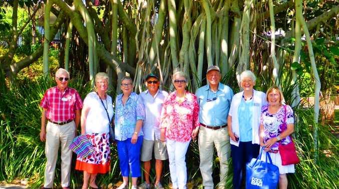 Roma Street Parkland. L-R  David Ralph, Pauline Ralph, Pam Fletcher, Stuart Fletcher, Anita Adams, Ian Adams, Edna Buckland and Margaret Gibson