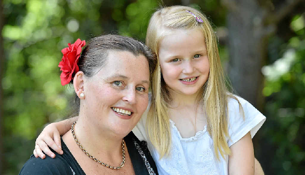 Toogoom mum and daughter Kim and Olivia, 5, Heckels. Olivia was diagnosed with acute myeloid leukaemia when she was four-months-old.
