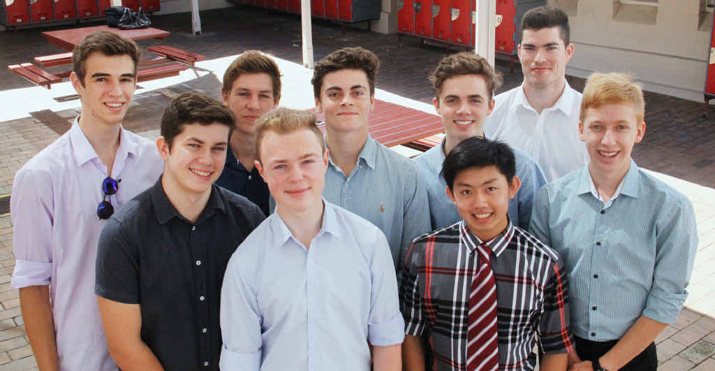 OUTSTANDING: Ipswich Grammar OP1 recipients from left, Jacob Sanderson, Marcus Poniewierski, Hayden Randall (2015 Dux), Alistair Snow, Nicholas Piper, Riley Mulheron, Patrick Wilson, Ricky Nguyen, Alexander Leathem. School Captain Oliver Pye also achieved an OP1.