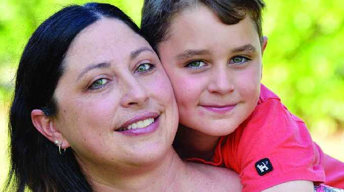 HAPPY TIMES: Lincoln Gardner with his mum Paula. Siblings are helping Lincoln's recovery.