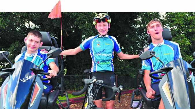CHARITY DAY: Josh Paix, Elliott Gray and Max Quaglio are kitted out in their race gear for the Buderim 9 Challenge.
