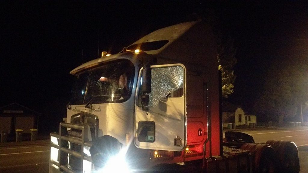 BE WARNED: A truck was damaged after it was reportedly hit by a rock thrown by a pedestrian in Toowoomba Sunday night.
