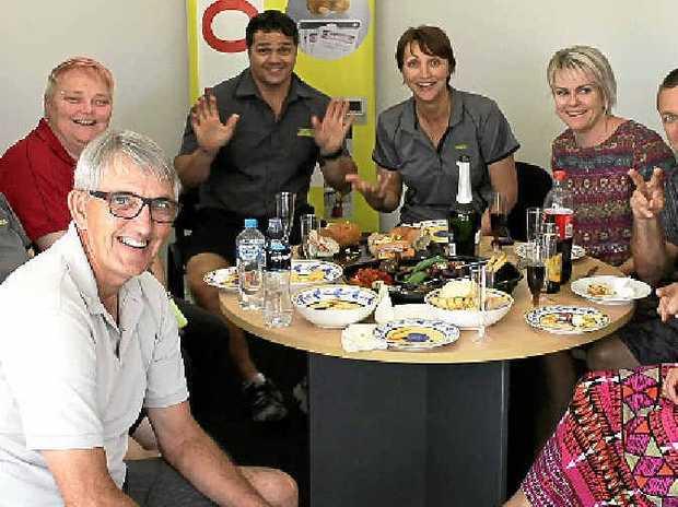 Cirlock business founder Erik Larsen (left, front) enjoys a business retirement lunch.
