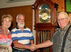 LONG SERVICE: Cheryl Wickham with Kevin McGregor (middle), who is being congratulated by Peter Wickham on his 40 years service with Wickham Freight Lines and Farms.