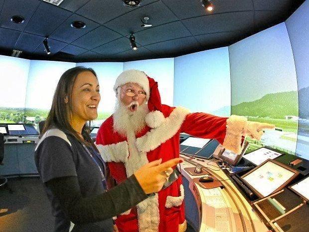 Santa visits Airservices before his big flight this Christmas Eve.