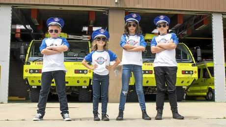 Airservices Santa Commanders 2015: Jackson, Imogen, Bella, Jackson, check out Airservices ultra-large fire trucks.