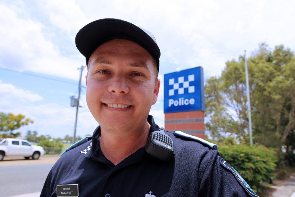 Police recruit Marcus Witt at the North Rockhampton Police Station. Photo Kelly Butterworth / Rockhampton Morning Bulletin
