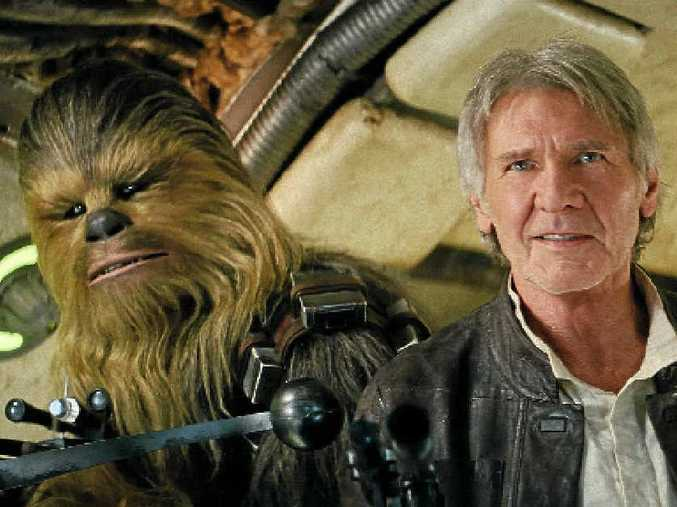 TOP PERFORMANCE: Peter Mayhew (as Chewbacca) and Harrison Ford in a scene from the movie Star Wars: The Force Awakens.
