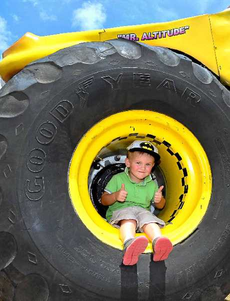 KEEN FAN: Kobe Hirst, aged 3 1/2, is super excited about monster trucks.