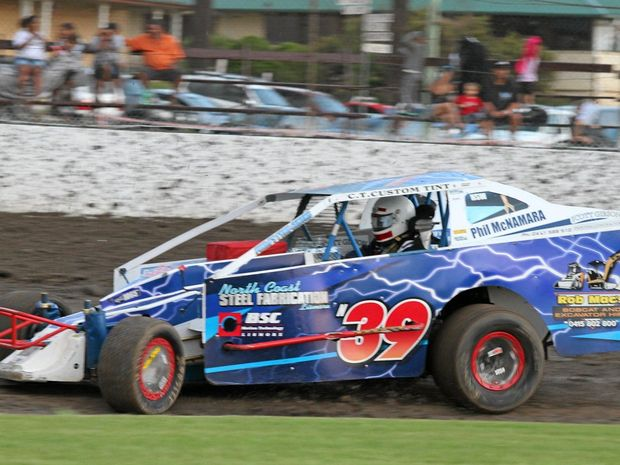 The V8 Dirt Modified of Phil McNamara, who is equal leader in the Driver to America series.
