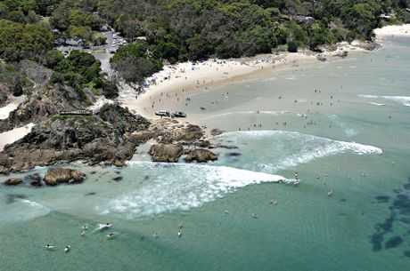 Aerial photo The Pass at Byron Bay. Photo Contributed