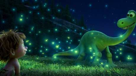 Apatosaurus Arlo and his human friend Spot in a scene from The Good Dinosaur.