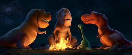 The characters Nash, Butch, Spot, Arlo and Ramsey in a scene from The Good Dinosaur.