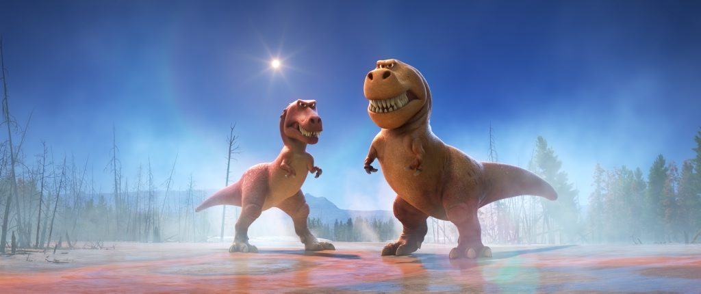 The characters Ramsey and Nash in a scene from The Good Dinosaur.