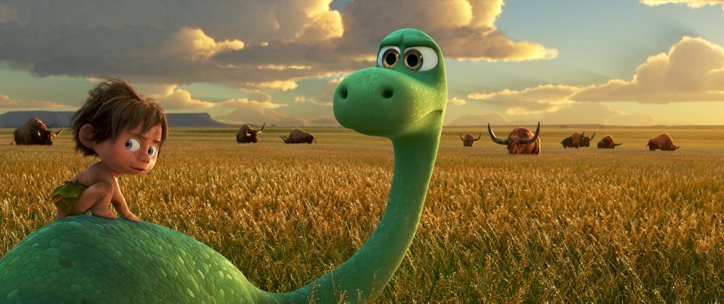 Arlo, an Apatosaurus, meets a human named Spot in the movie The Good Dinosaur.