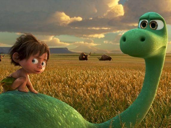 Arlo, an Apatosaurus, meets a human named Spot in the movie The Good Dinosaur.