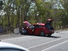 Emergency services at the scene of a fatal car crash 20km north of Gin Gin. Photo Jodie Dixon / NewsMail