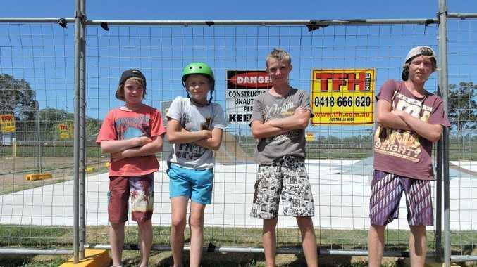 READY TO SKATE: (From left) Nathan Pennington, Shannon Craig, Cameron Pennington and Corey Pennington can't wait to use the new Torbanlea skate park.
