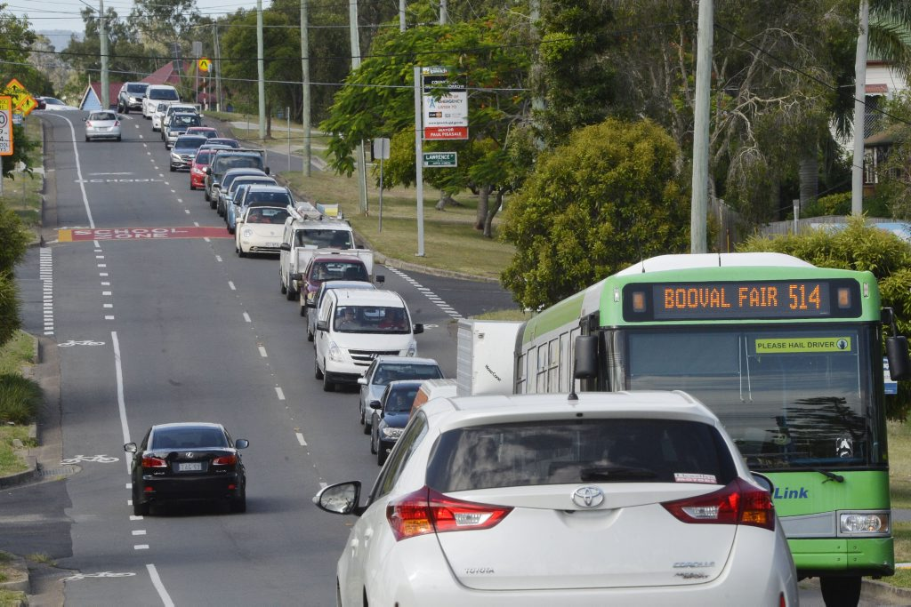 Traffic banked on Pine Street, North Ipswich after an accident on the Warrego Highway.