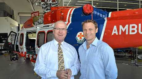 FLYING HIGH ON SUCCESS: Caloundra-based HeliMods owner Will Shrapnel, right, and Mayor Mark Jamieson are delighted at five new helicopters valued around $85 million being delivered to emergency services.
