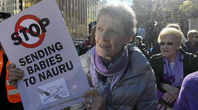 STANDING UP: Grandmothers against Detention of Children join protesters in Melbourne earlier this year.