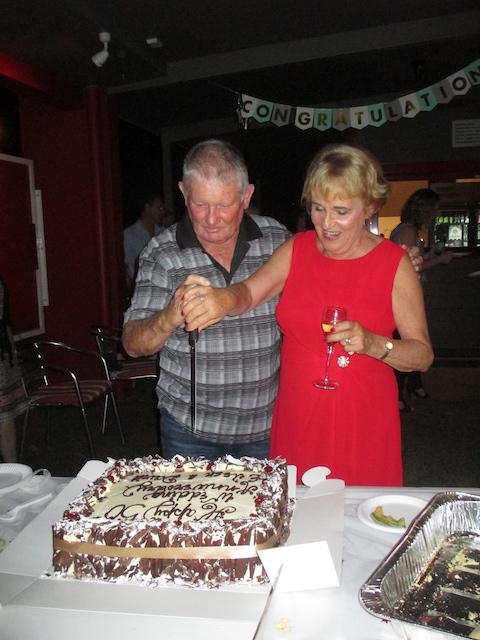 Eileen and David Walder cut the cake at their Golden Wedding anniversary