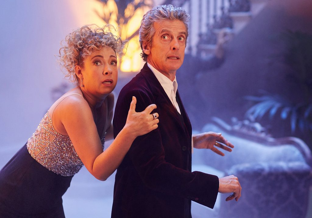 Alex Kingston as River Song and Peter Capaldi as the Doctor in a scene from The Doctor Who Christmas Special (s9). Supplied by ABC TV.