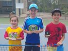 Friday winners Mia James (red ball), Sean Lorensen (yellow ball), Jackson Taylor (orange ball).
