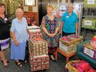 GENEROUS DONATION: Mater Rockhampton director of nursing Claire Letts, Sister Rita Connor, executive officer Annette Czerkezow and Sister Maria Jean Rhule surrounded by the hampers earmarked for drought-affected families in Aramac.