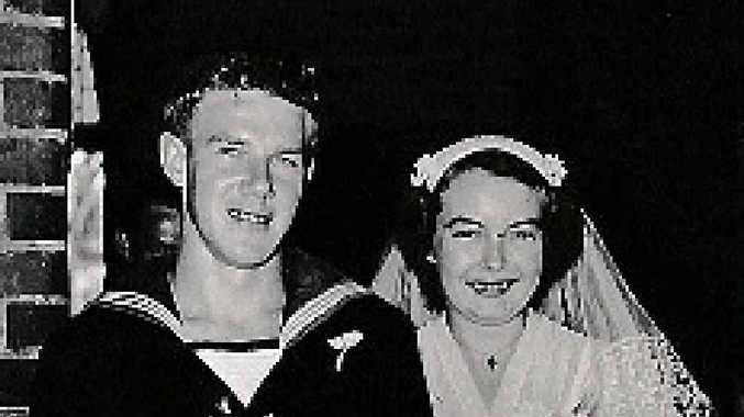 BIG DAY: Frank and Beverley Drummond on their wedding day in 1955.