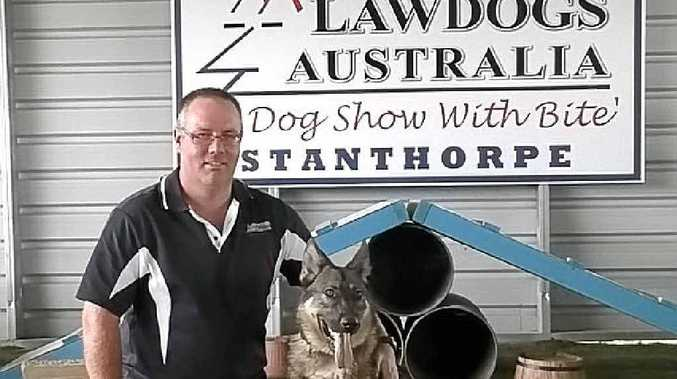 DOG DEMONSTRATIONS: Matthew Hibberd with 19-month-old Pepper at Lawdogs Australia.