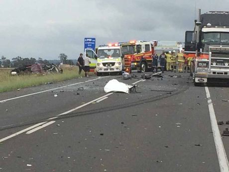 A serious crash between a bus and car on the Warrego Hwy near Toowoomba.