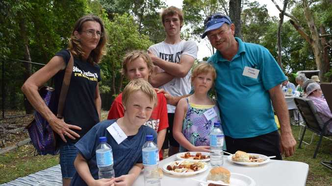 GREAT DAY: The Kingston family from Urangan enjoy the Picnic in the Gardens. (Back from left) Mum Mary-Ann with Justin, aged 11, Lucas, aged 18 and dad Kelvin. (Front from left) Andrew, aged 8 and Jasmin, aged 10. Absent is daughter Ashleigh, aged 15.