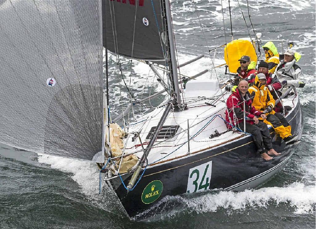 RESTORED: Shane Kearns' Quikpoint Azzurro approaching Hobart in last year's Rolex Sydney Hobart Yacht Race