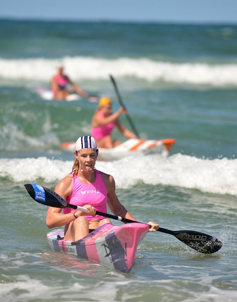 Queensland Surf Life Saving Championships at Maroochydore. Alyce Burnett from Maroochydore wins the ski race. Photo: Warren Lynam / Sunshine Coast Daily