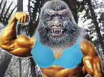 Bodybuilder yowie with strange fetish on loose