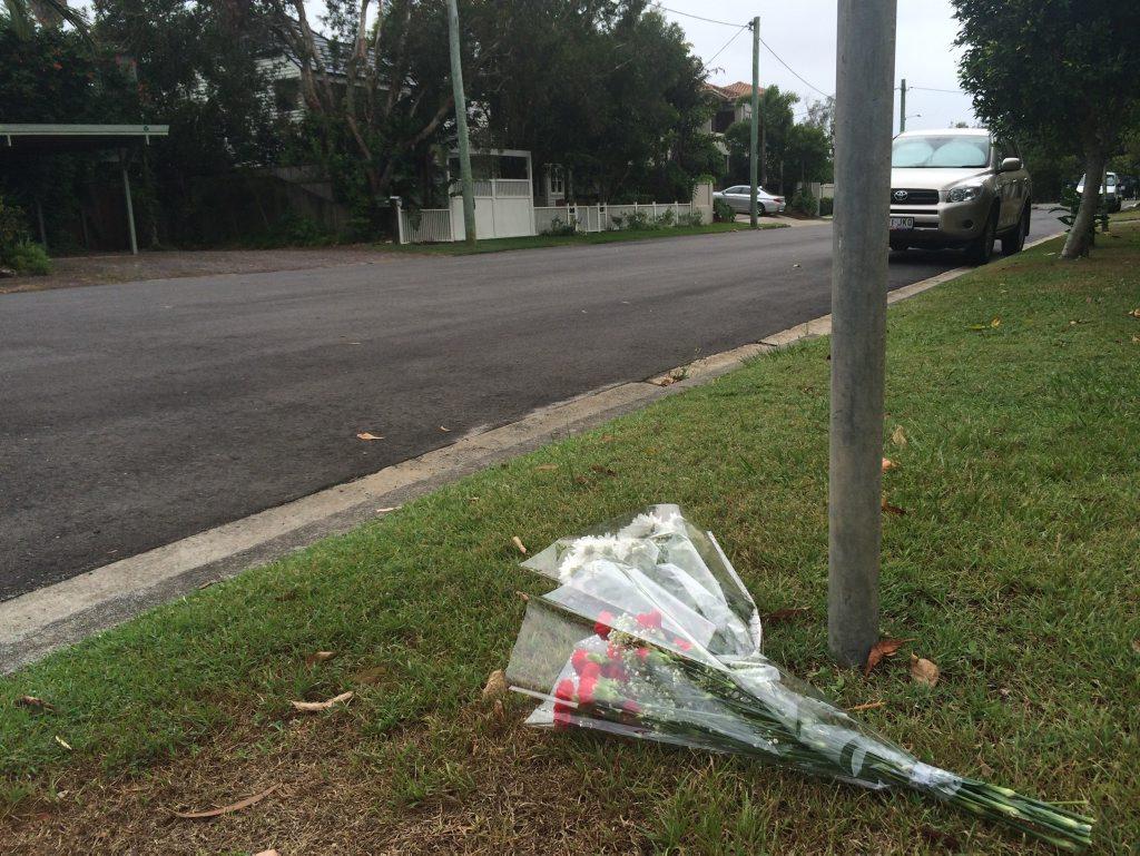 Flowers left near scene where man was found on Ernest St Photo Stuart Cumming / Sunshine Coast Daily