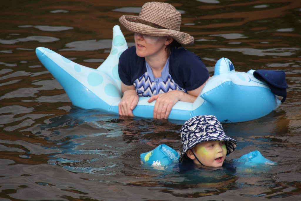 OUT OF THE WATER: Sophie and Ethan Maine made the most of their Borumba Dam holiday, prior to the recent swimming ban, now extended to a total ban on water based recreation, due to an outbreak of toxic algae