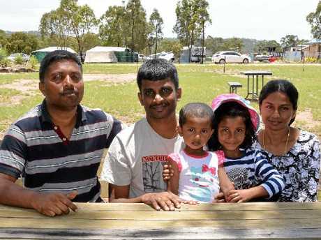 Kumar Pradeep, Moorthy Thiru, Dhiya Moorthy, Reya Ashokkumay and Suganya Moorthy enjoying camping.