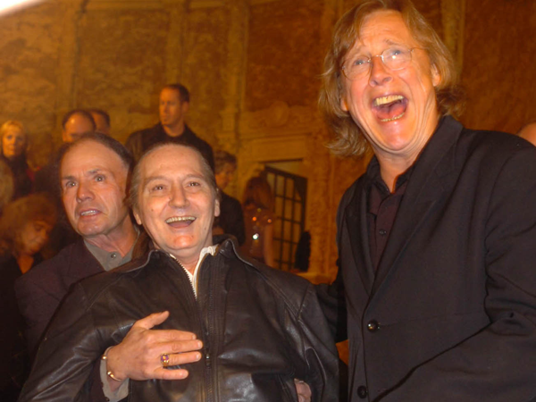 Members of the EasyBeats Harry Vanda, Stevie Wright, and Snowy Fleet on the Red Carpet at the ARIA Icons: Hall of Fame Night at the Regent Theatre. The event pays tribute to the great musicians of Australia.