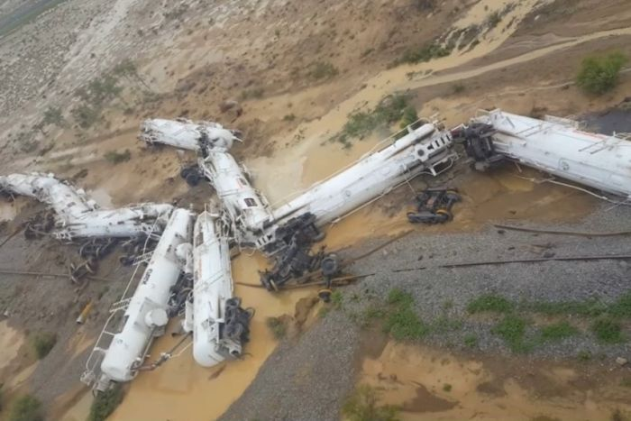 A freight train carrying sulphuric acid has derailed in north Queensland. Image: Queensland Police Service